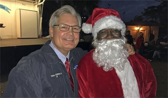 Mayor Henderson with Santa Claus