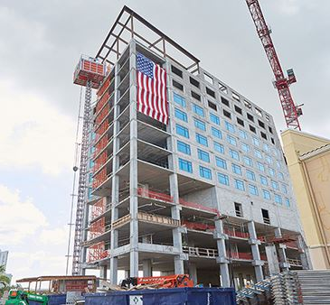 Luminary Hotel Exterior at Topping Out Ceremony