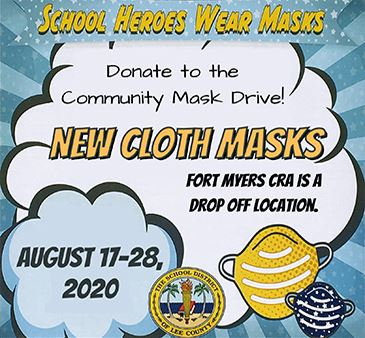 School heroes wear masks donate to the community mask drive new cloth masks fort myers cra