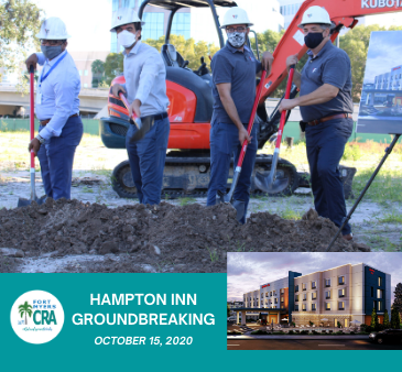 Hampton Inn Groundbreaking October 15, 2020 Groundbreaking and hotel images Fort Myers CRA logo