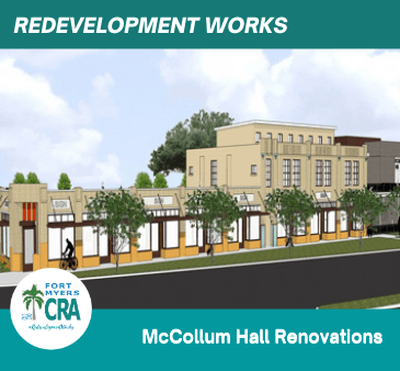 McCollum Hall Renovations Rendering View A Redevelopment Works Fort Myers CRA Logo