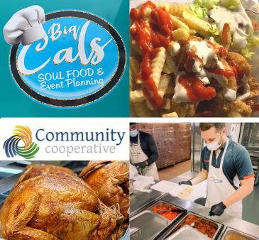 Big Cals Soul Food Event Planning and Community Cooperative logos food preparation