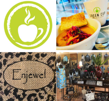 Green Cup Organic Cafe and Enjewel logos food picture boutique clothing picture