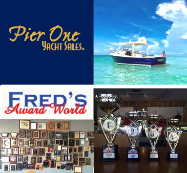 Pier One Yacht Sales Logo Boat in Water Fred's Award World Logo Plaques on Wall Trophies