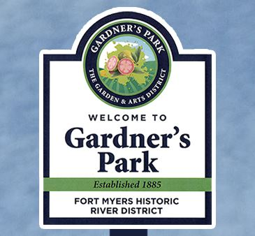 Gardners Park sign detail Welcome to Gardner's Park The Garden and Arts District Established 1885