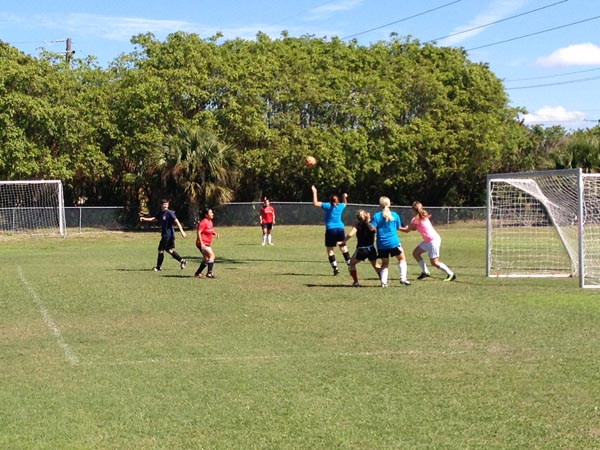 Players battle for control of the ball in the goal area